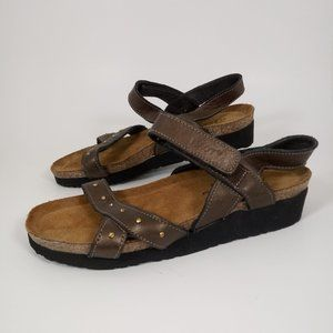 Naot 37 Flat Sandals Ankle Strap Bronze Leather